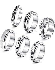 CASSIECA 6 stuks roestvrijstalen spinnerring voor vrouwen mannen fidgetband ringen maan ster meditatie ring set voor stress angst verlichting bruiloft belofte maat 6-11