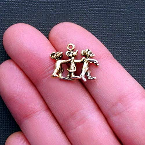 (5 Three Blind Mice Charms Antique Gold Tone Just Adorable 3D Vintage Crafting Pendant Jewelry Making Supplies - DIY for Necklace Bracelet Accessories by CharmingSS)