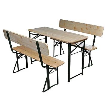Vidaxl Table Et 2 Bancs Bois De Sapin Pliable Meuble De Jardin