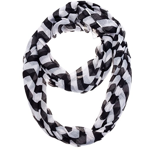 Silverhooks Womens Soft Infinity Circle Sheer Chevron Scarf (Black/White)