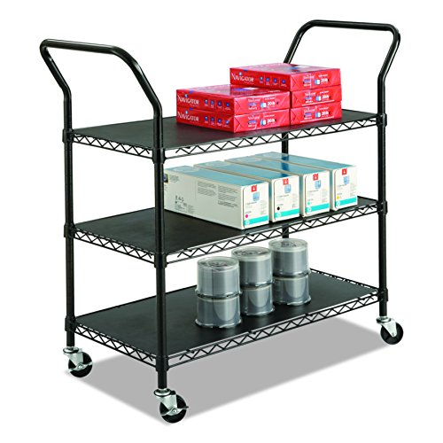 Safco Products 5338BL Wire Utility Cart with 3 Shelves, Rated up to 600 lbs., (Safco 3 Shelf)