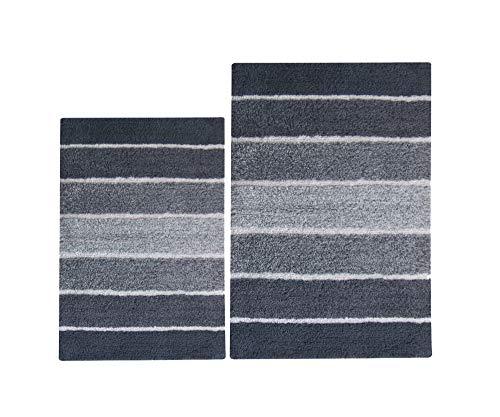 Chardin Home - 100% Pure Cotton - 2 Piece Cordural Stripe Bath Rug Set, (24''x40'' & 21''x34'') Gray-Charcoal with Latex spray non-skid backing