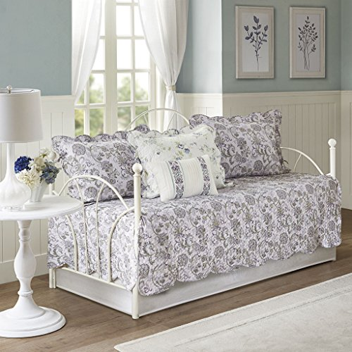 Madison Park Lydia 6 Piece Cotton Reversible Daybed Set Ivory/Purple Daybed