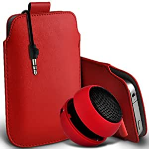 Sony Xperia T premium protección PU ficha de extracción Slip Cord En la cubierta de la caja del filtro del bolsillo de la Piel y Mini recargable portátil de 3,5 mm Cápsula Viajes Bass Speaker Jack Red por Spyrox