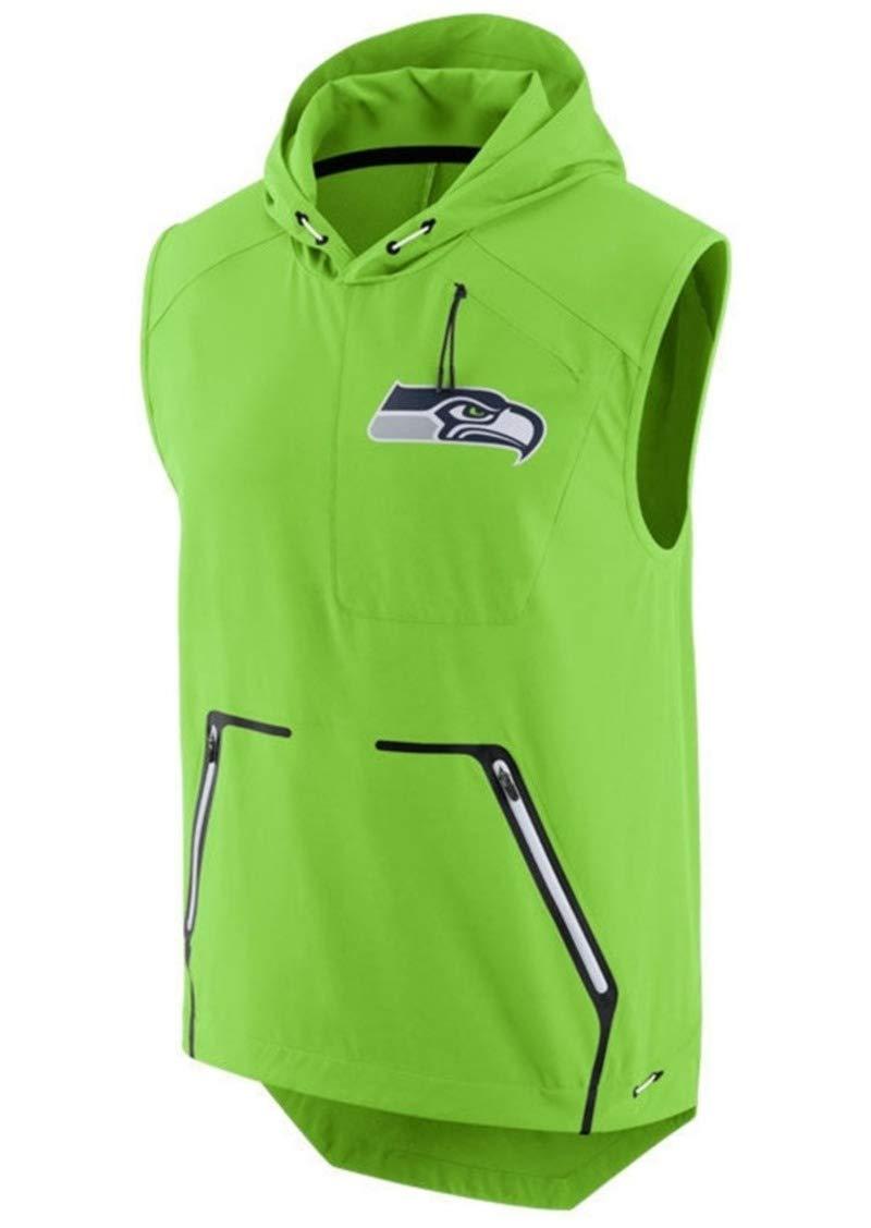 Nike Seattle Seahawks Fly Rush Sleeveless Hooded Vest Jacket (Large)