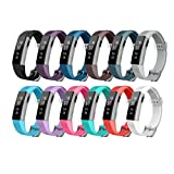 Fitbit Alta Band, Bon Tech Replacement Wrist Band with Metal Buckle and Clear Fastener Rings for Fitbit Alta (Diagonal Pattern - 12 Colors)