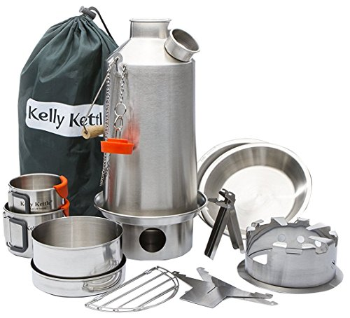 Kelly Kettle Camp Stove Ultimate Stainless Steel Base Camp Kit - Holds 54 oz Water - Boils Water Within Minutes, Uses Natural Fuel Enables You to Rehydrate Food Cook a Meal
