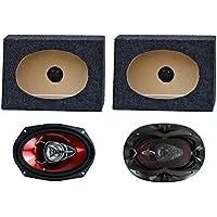2) Boss CH6920 6x9 2-Way 350W Car Speakers + 2) QTW6X9 Angled 6x9 Speaker Box