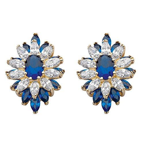 Oval Spinel Earrings - 14K Gold-plated Floral Earrings (23x16mm) Oval Cut Blue Simulated Spinel and Cubic Zirconia
