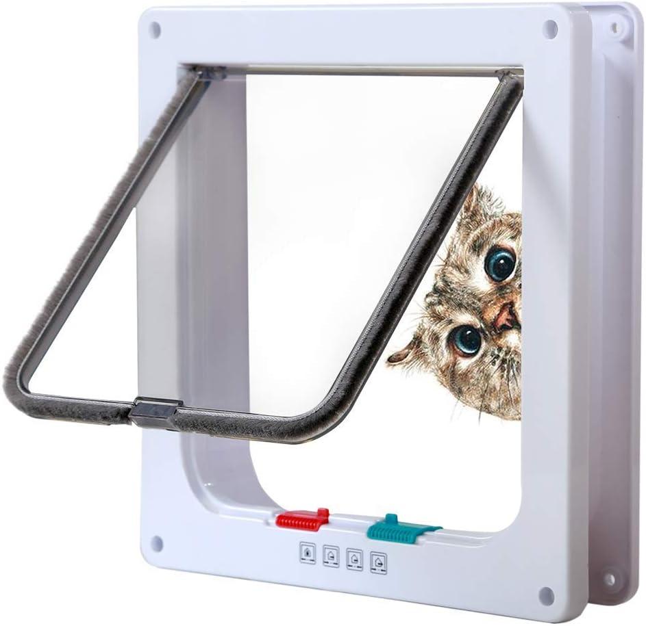 DEZHI Puerta para Gatos Bloqueo de 4 vías, Puertas silenciosas para Mascotas para Gatos, Puertas Grandes para Gatos para Puertas Exteriores Interiores, fácil inDEZHIlación Puerta p