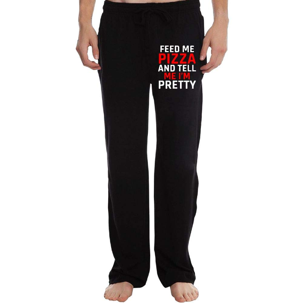 PT25dw-2 Sweatpants Mens Fit Feed Me Pizza Tell Me Im Pretty1 100/% Cotton Sports Pants