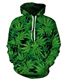 LoveLiness Unisex Marijuana Hemp Green Leaf Printed Drawstring Hoodie Sweatshirt