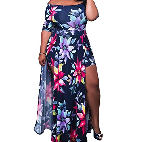 Jipai(TM Vestidos Estampados Flores Tallas Grandes Mujeres Manga Corta Cuello Redondo Sin Hombro Falda Larga