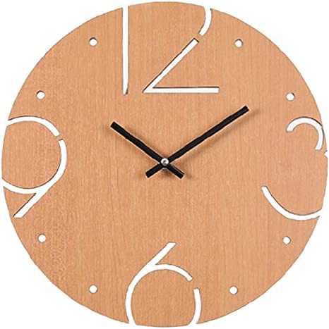 Amazon Com Guijinpeng Wall Clocks 30 Cm Wooden Wall Clocks Simple Round Fun Digital Household Charts Creative Decoration Big Numbers Artistic Natural Silent Easy To Read Home Kitchen
