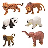 Venus-Planet Of Toys Wild Animal Model Of Tiger, Polar Bear, Lion, Asian Elephant, Panda & Baboon Learning Educational Toys(Set Of 6)(Multicolour)