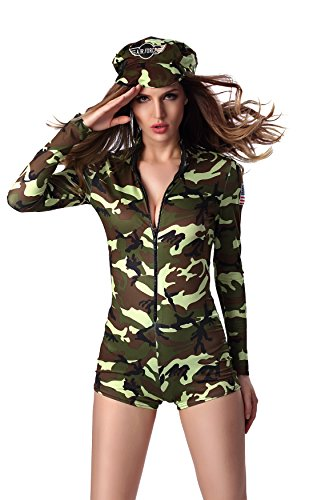 Dlsave Women Halloween Costume Long Sleeve Camouflage Jumpsuit With Cap (Medium) (Sexy Soldier Costumes)