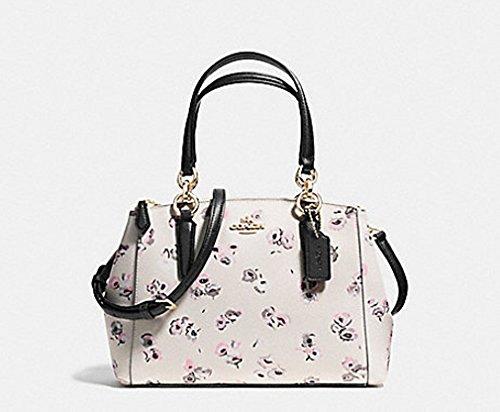 Coach Side Zip Tote (Coach Mini Christie Carryall Floral Print Satchel Bag Handbag Purse - Chalk Multi)