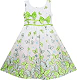 EY63 Sunny Fashion Big Girls' Dress Butterfly Green Double Bow Tie Summer Beach 7-8