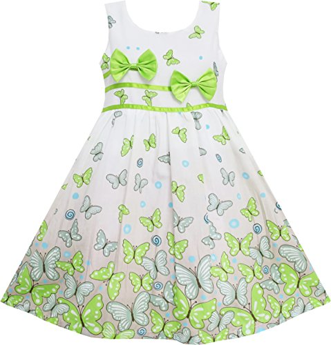 Sunny Fashion EY62 Little Girls' Dress Green Double Bow Tie Summer Beach 6 -