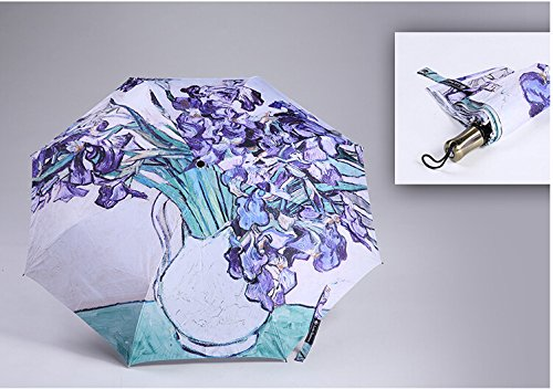 (Get Orange Van Gogh Masterpiece Oil Painting Automatic 3 Folding Parasol Sun Protection Anti-uv Umbrella (Iris) )
