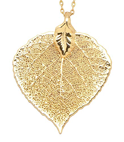 - Allmygold Jewelers 24k Gold Dipped Aspen Leaf with Gold-Plated Chain