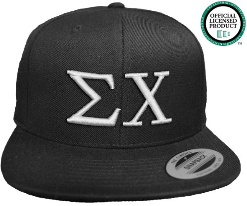SIGMA CHI Flat Brim Snapback Hat White Letters / Sig Chi | Sigs | Fraternity Cap
