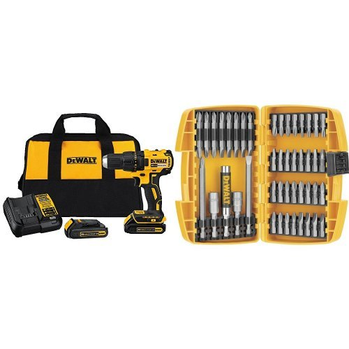 DEWALT DCD777C2 20V Max Lithium-Ion Brushless Compact Drill Driver with DW2166 45-Piece Screwdriving Set by DEWALT