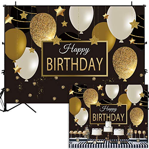 Allenjoy 7x5ft Black Golden Balloons Happy 30th 40th 50th Birthday Backdrop Gold Glitter Dots Sparking Stars Kids Adults Bday Party Background Photo Booth Cake Table Banner ()