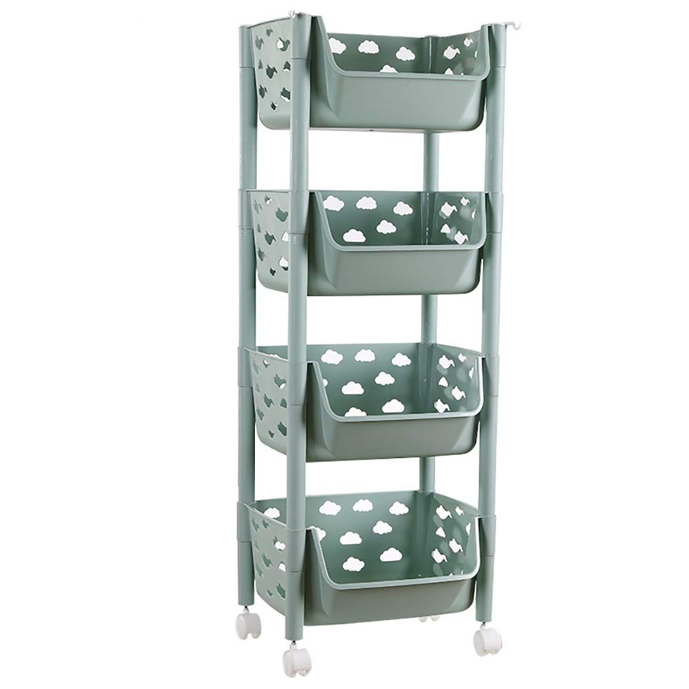 4 plastic baskets, rolling carts, PP storage carts, casters, kitchen bathrooms, practical storage carts and tissue carts, green