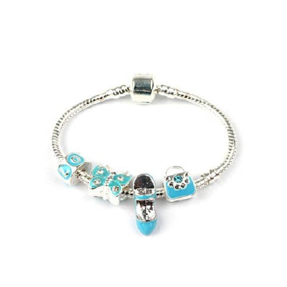 Liberty Charms Childrens True Blue Silver Plated Charm Bead Bracelet with Gift Box Birthday Present