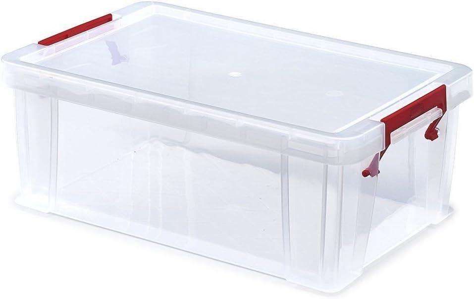 Juego de 3 cajas de plástico transparente con tapa (10 litros): Amazon.es: Hogar