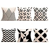U-LOVE Modern Simple Geometric Style Pillow Covers Black &Beige Stripe Soft Linen Burlap Square Throw Pillow Cases, 18 x 18 Inches, Set of 6 (Geometric-1)