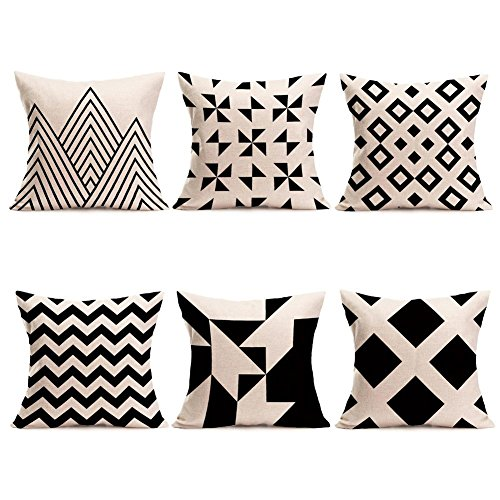Modern Simple Geometric Style Pillow Covers U-Love Black &Beige Stripe Soft Linen Burlap Square Throw Pillow Cases, 18 x 18 Inches, Set of 6 (Geometric-1)]()