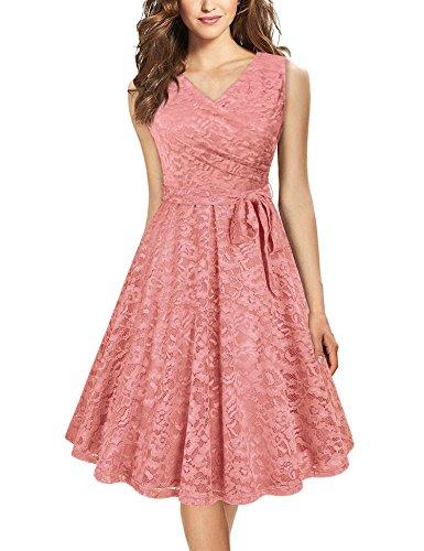 Laksmi Wedding Dress for Women,Junior Summer Sleeveless V Neck A Line Bridesmaid Party Long Lace Dress with Belt,Deep Pink S