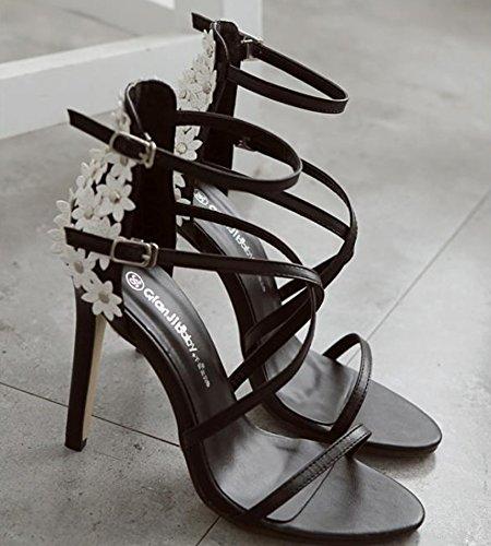 Una Zhudj Black Alto Flor Tacón Sandalias De Zapatos Con Señoras Pequeña 0TA0FWZO