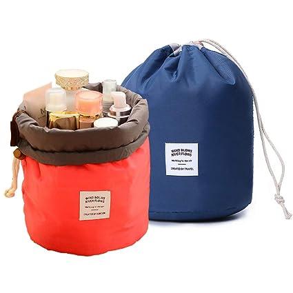 GCOA 2 Pcs Bolsas de cosméticos cilíndricas Oxford, Bolsa de Maquillaje Viaje Neceser de Almacenamiento de Aseo para Mujer Niña(Rojo/Azul Oscuro)