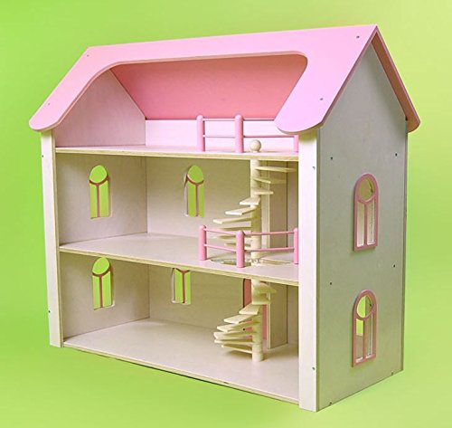 Once Upon A Treehouse Quality Hand Crafted in Germany Solid Maple Three Story Wood Dollhouse Manor by Factory Direct Craft