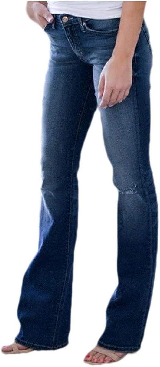 Tootess Women's Mid-waist Skinny Faded Ripped Distressed Slim Flared Fashion Denim Pants