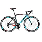 SAVA T700 Carbon Fiber 700C Road Bike with SHIMANO 3000 18 Speed Derailleur System and Double V Brake (Blue,52cm)
