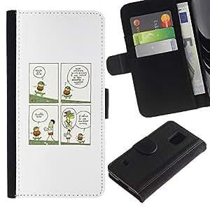 LECELL--Cuero de la tarjeta la carpeta del tirón Smartphone Slots Protección Holder For Samsung Galaxy S5 V SM-G900 -- ILUSTRACIÓN JIRAFA DIVERTIDA --