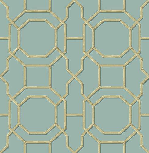 Beacon House 2669-21737 Summer Trellis Wallpaper, Turquoise (Summer Trellis)