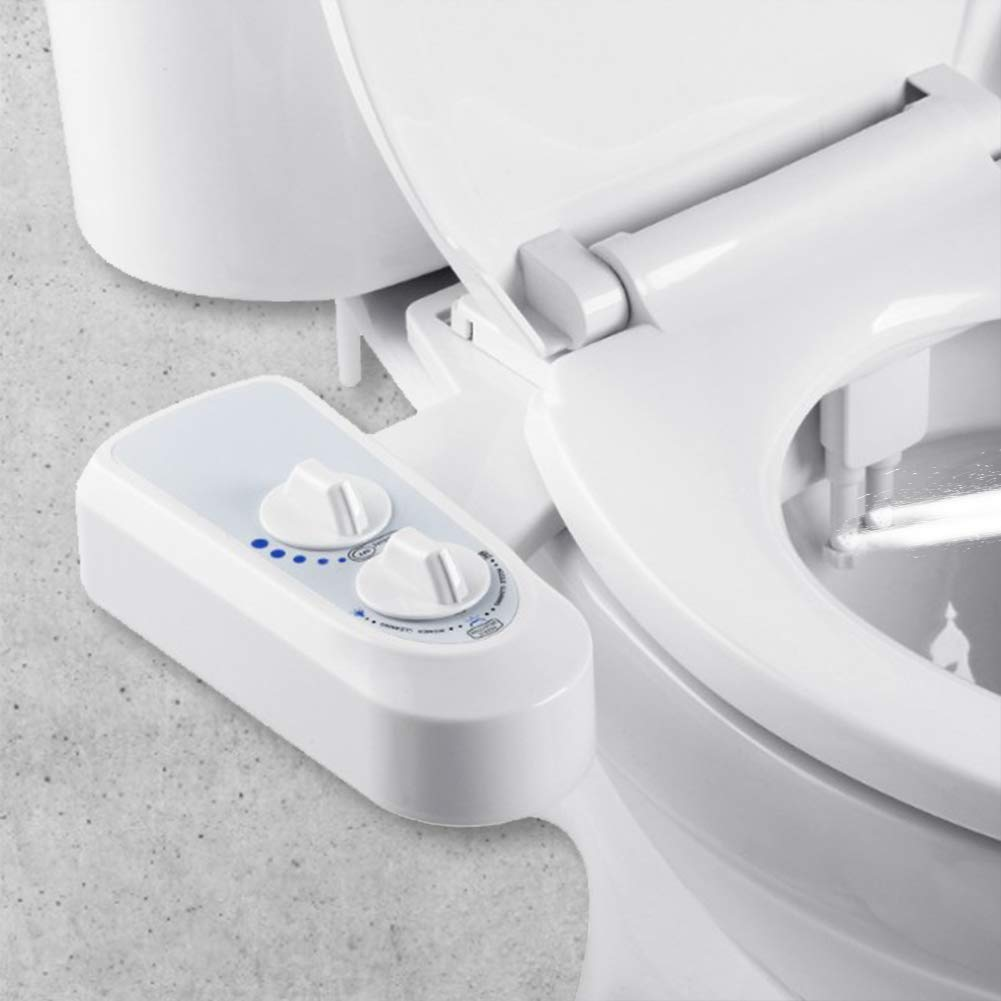Bidet Toilet Attachment Fresh Clean Water Sprayer Non-Electric Mechanical Self Cleaning Dual Nozzle
