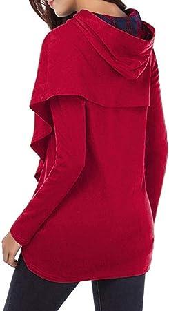 Sudadera con Capucha De Manga Larga A Cuadros De Las Mujeres, Belasdla Top De Retazos A Cuadros Suelta Casual Tops Camisa De Camisa De La Ropa De OtoñO Invierno Fiesta De Mujer De Moda