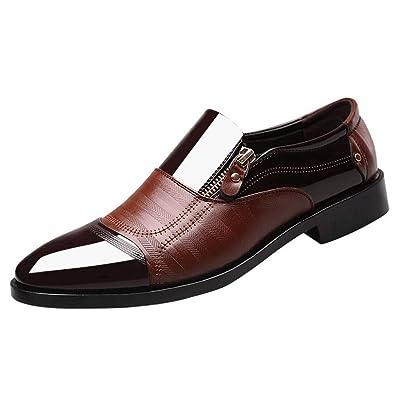 6d484c46094bfe GongzhuMM Chaussures de Ville Homme Bout Pointue Chaussures en Cuir avec  Fermeture éclair Mocassins pour Homme