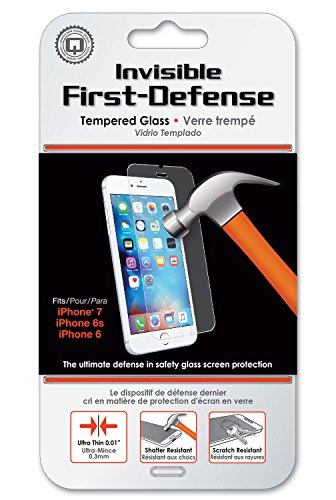 Qmadix iPhone 7 Screen Protector, Invisible First-Defense Tempered Glass 9H for iPhone 7, 6, 6s