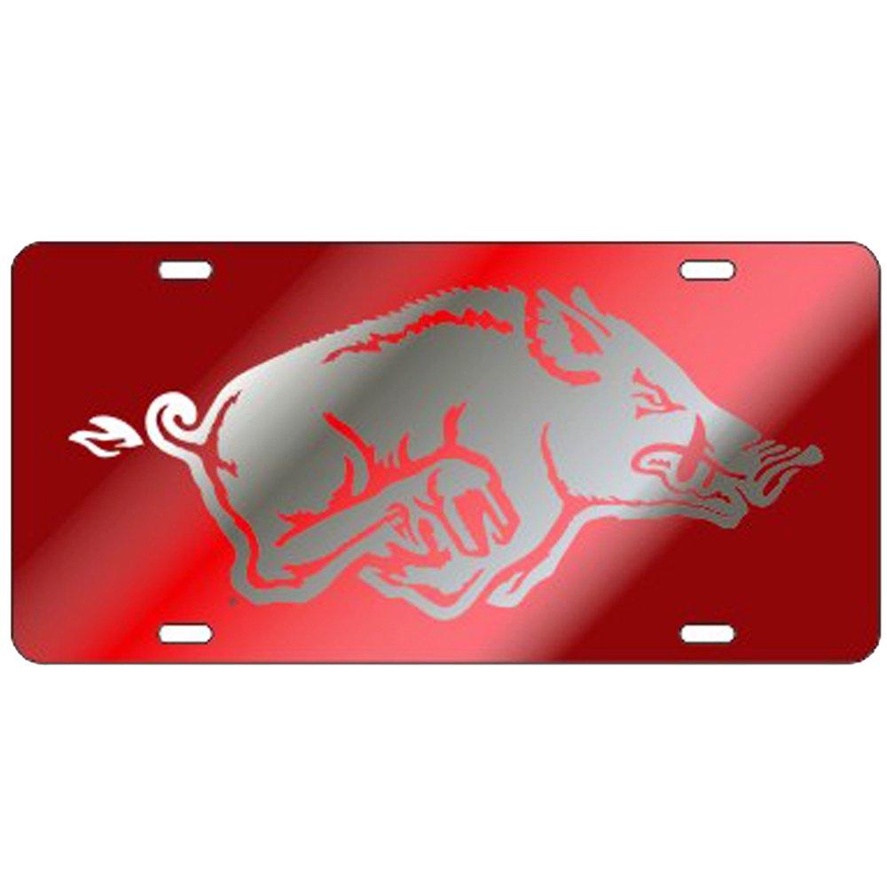 Arkansas Razorbacks Red Laser Cut License Plate