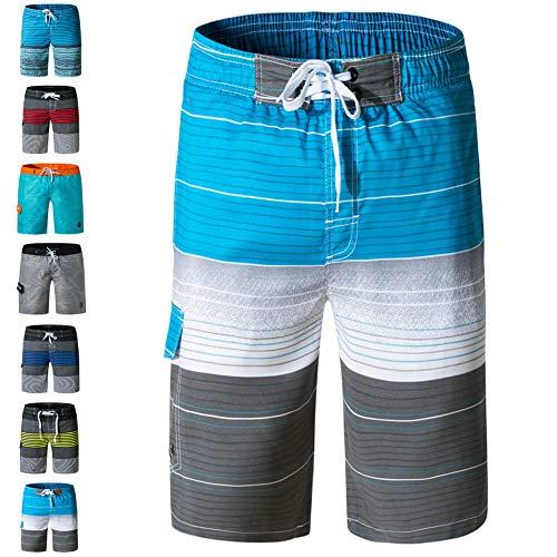 (ZIITOP Men's Swim Trunks Quick Dry Water Beach Board Shorts Striped Sportwear Striped Blue XL)
