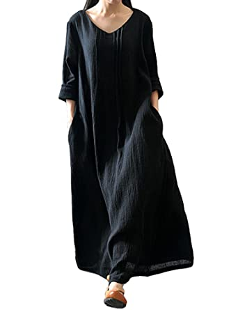 b38743517d0 Romacci Women s Casual Loose Maxi Long Dress Vintage Long Sleeve Cotton  Dress Black