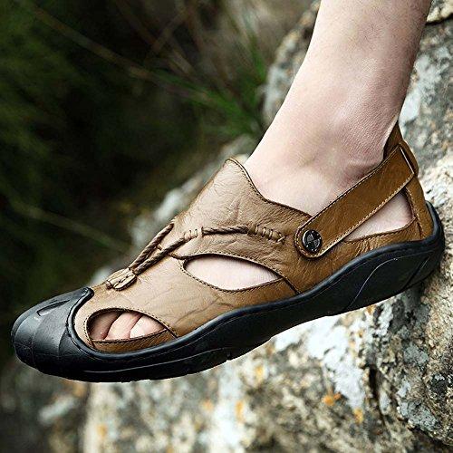Cerrados Verano Caqui Cómodos Para Mengxx Moda Zapatos Hombres De Sandalias Exteriores Cuero RxwR7qAS0