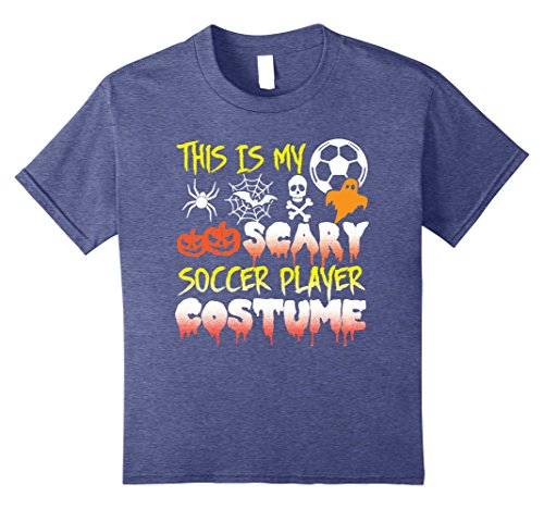 Soccer Player Girl Costume (Kids This Is My Scary Soccer Player Costume Halloween T-Shirt 10 Heather Blue)